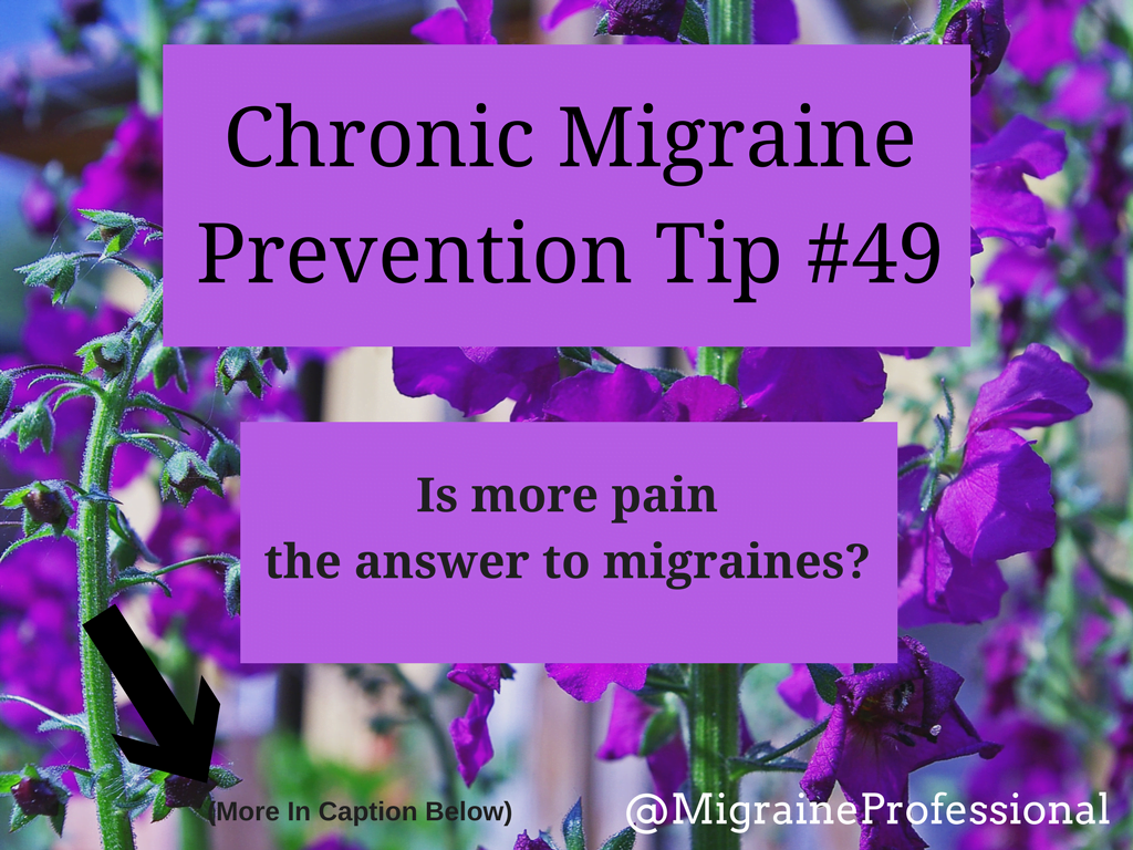 Chronic Migraine Prevention Tip #49 Is More Pain The Answer To Migraines?