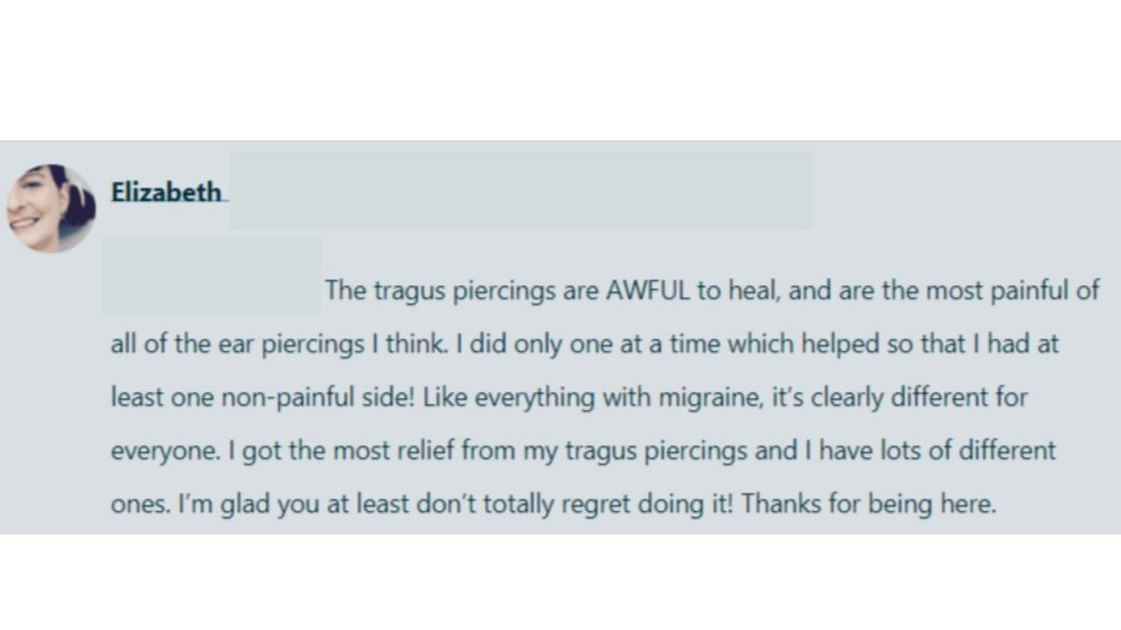 Tragus Piercing Migraine Headache